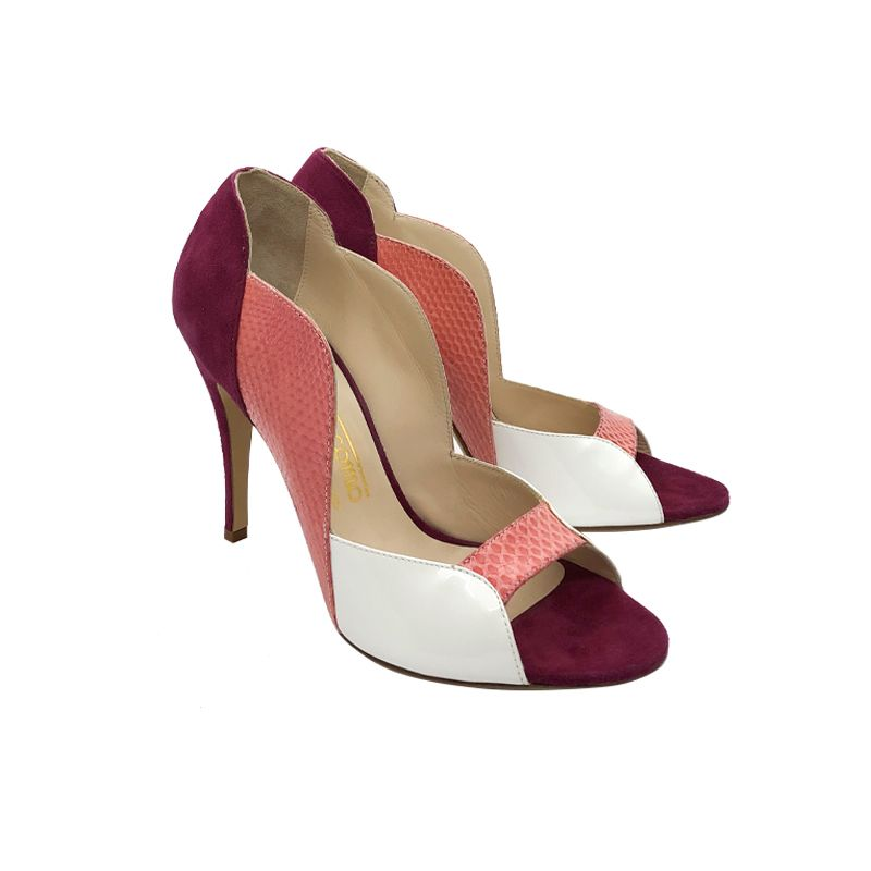 Multicolor leather high heel open toe pumps hand made in Italy, women's model by Fragiacomo