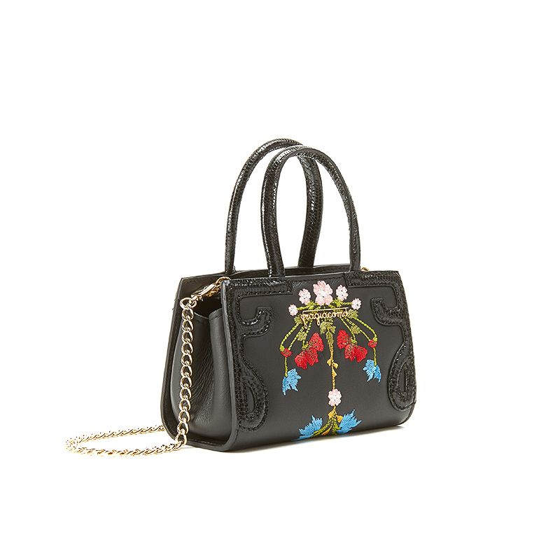 Micro Icon bag in black nappa leather with embroidered garland of multicolour flowers woman