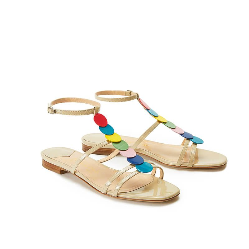 Nude patent leather sandals with ankle strap and multicolor patent leather discs, SS19 collection by Fragiacomo, side view