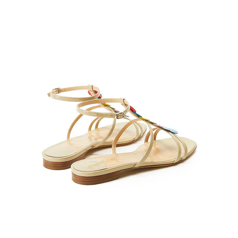 Nude patent leather sandals with ankle strap and multicolor patent leather discs, SS19 collection by Fragiacomo, back view