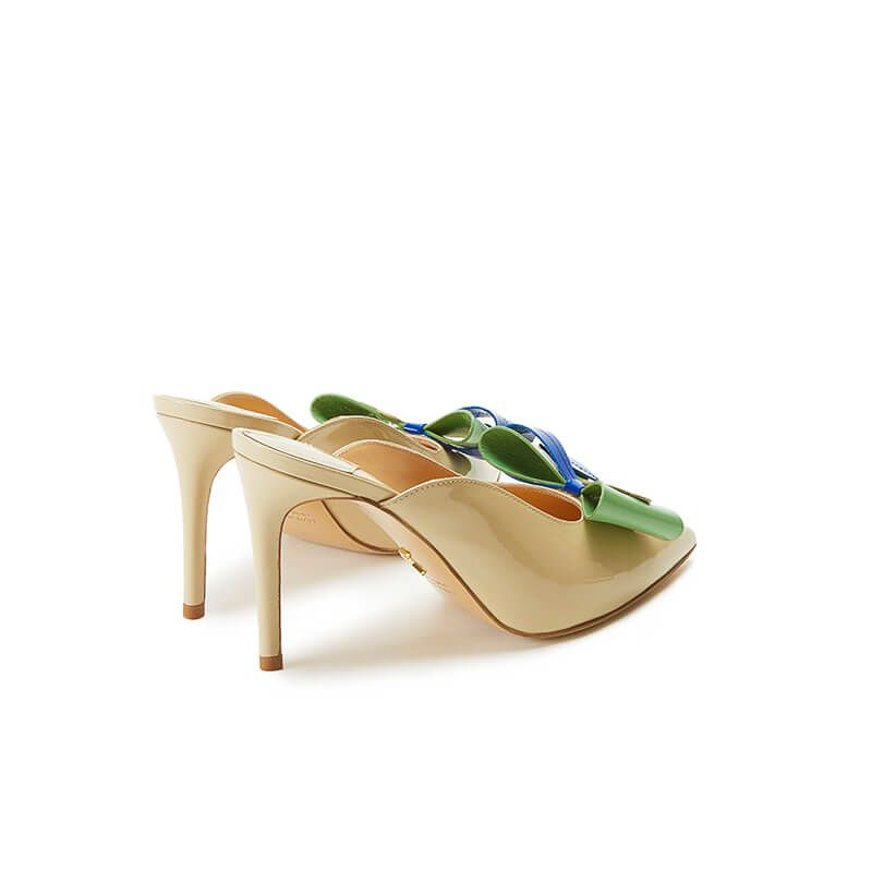 Nude patent leather high heel mules with multicolour bow, SS19 collection by Fragiacomo, back view
