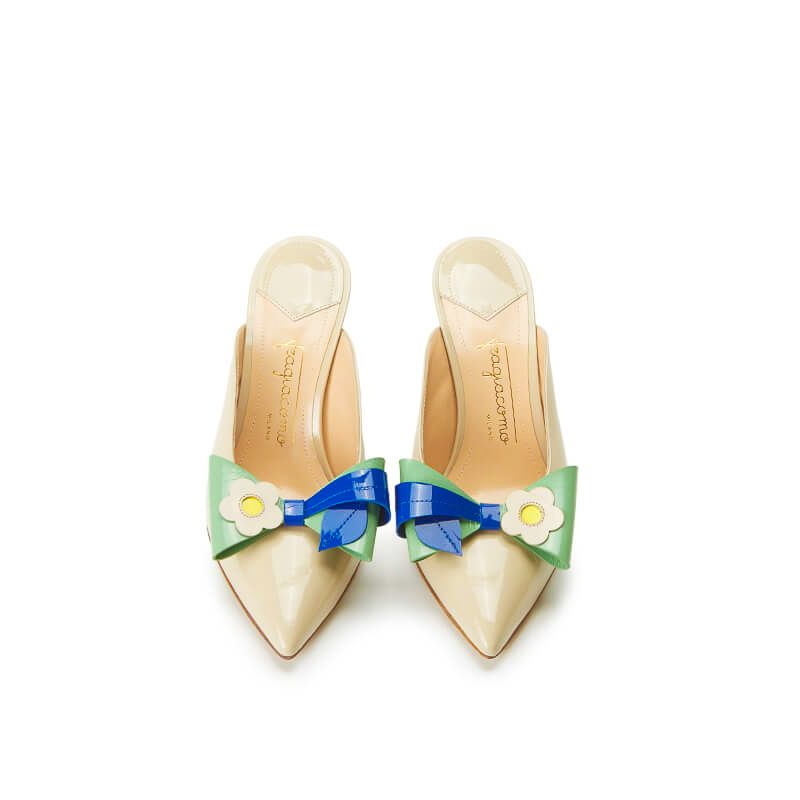 Nude patent leather high heel mules with multicolour bow, SS19 collection by Fragiacomo, over view