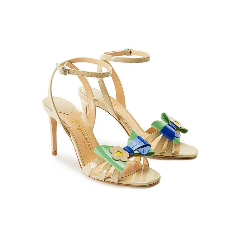 Nude patent leather high heel sandals with ankle strap and multicolor bow, SS19 collection by Fragiacomo, side view