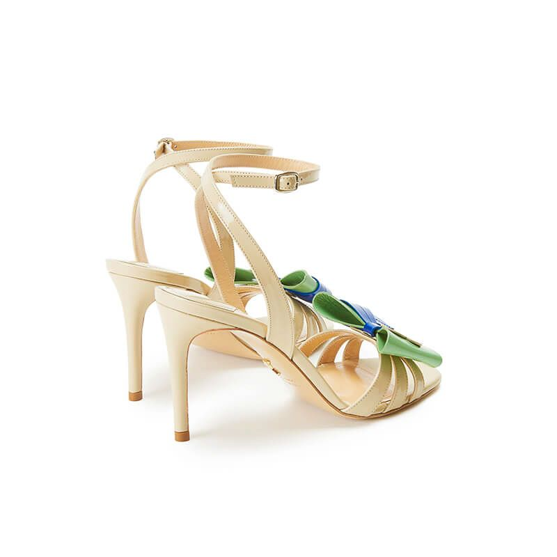Nude patent leather high heel sandals with ankle strap and multicolor bow, SS19 collection by Fragiacomo, back view