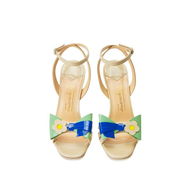 Nude patent leather high heel sandals with ankle strap and multicolor bow, SS19 collection by Fragiacomo, over view
