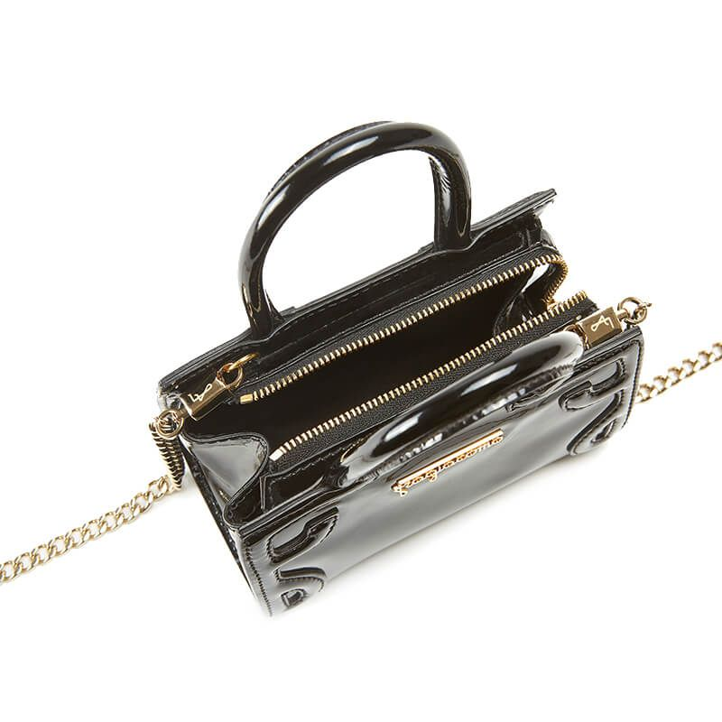 Micro Icon bag in black patent leather woman