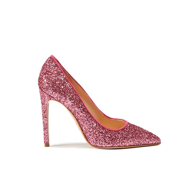 Pink pumps in glitter, elegant women's, by Fragiacomo