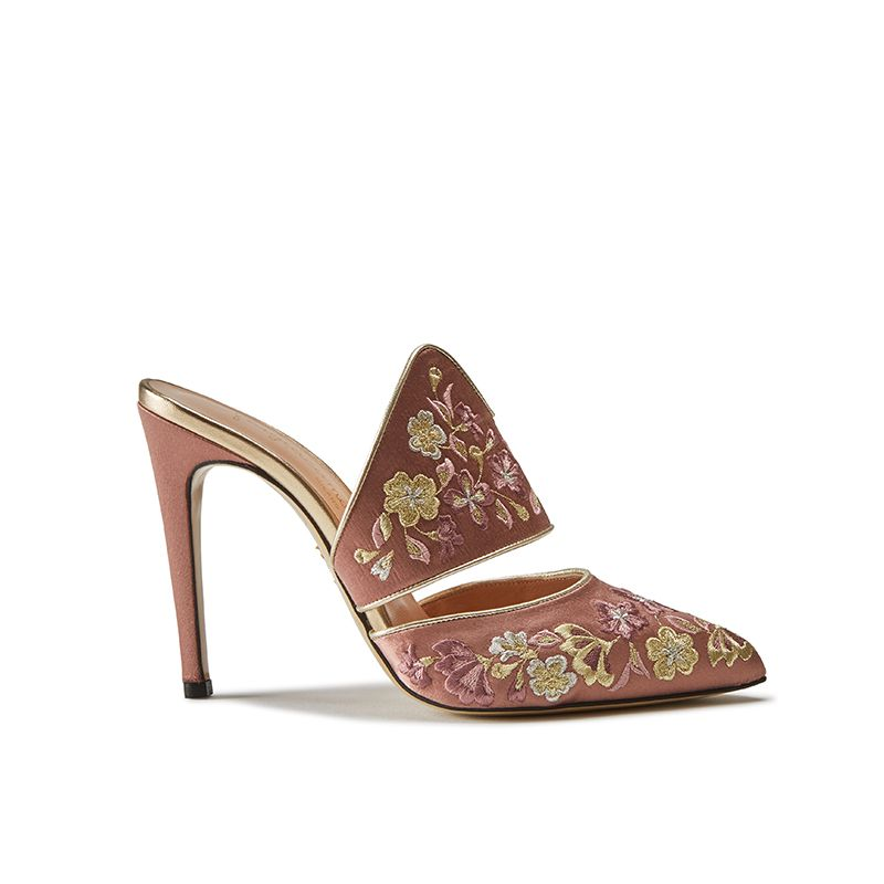 Pink satin mules with floral embroidery, elegant, women's by Fragiacomo