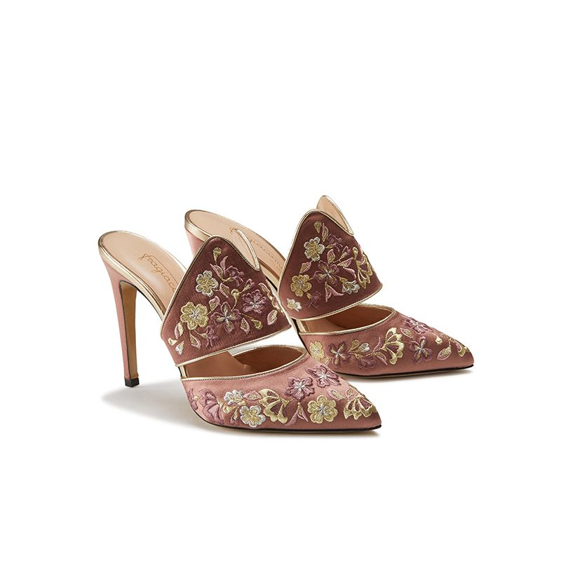 Pink satin mules with floral embroidery, elegant, women's by Fragiacomo, side view