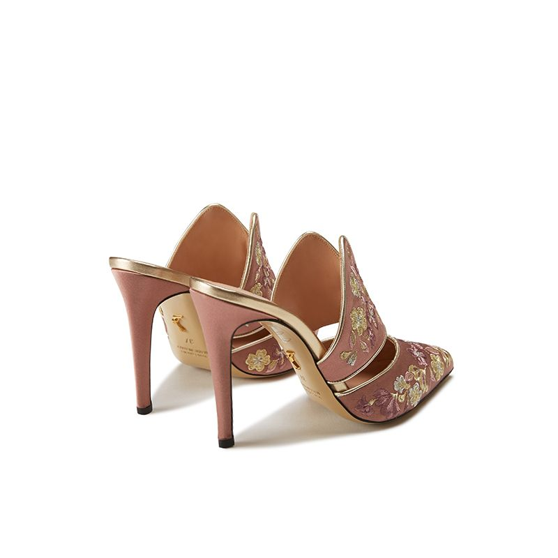 Pink satin mules with floral embroidery, elegant, women's by Fragiacomo, back view