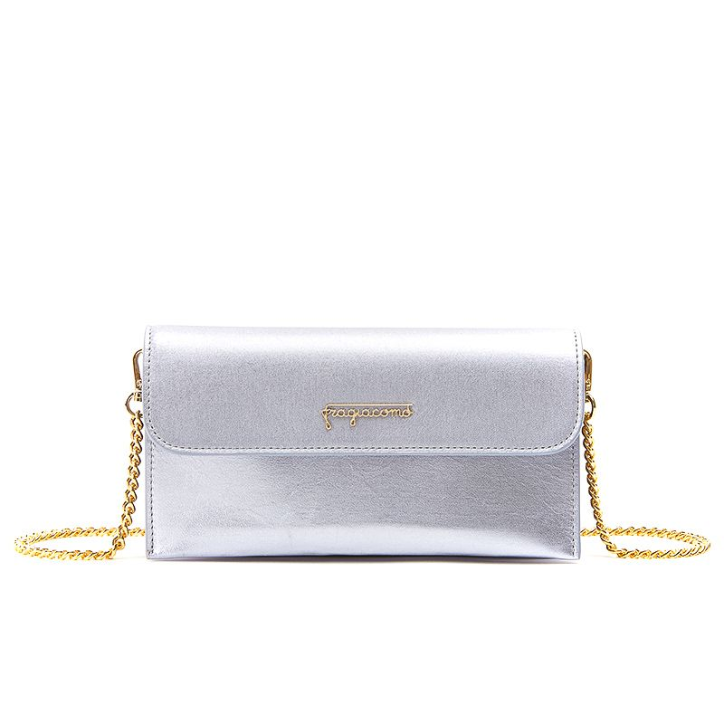 Pochette in lilac laminated leather with gold accessories woman