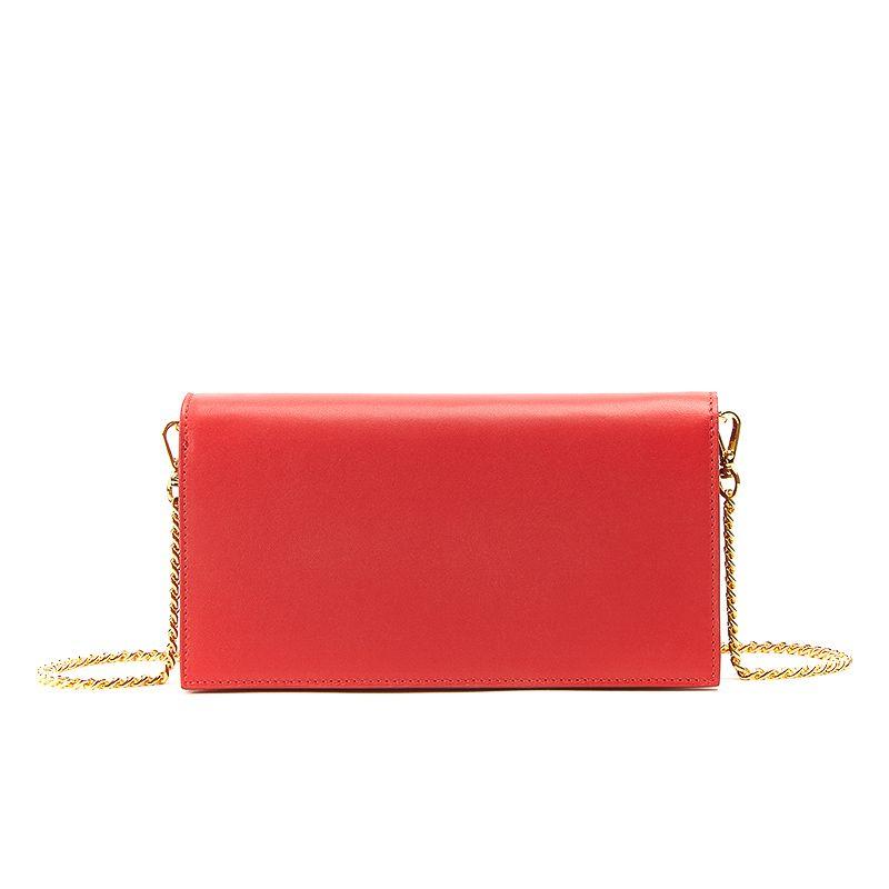 Pochette in nappa rossa con catena e accessori oro da donna