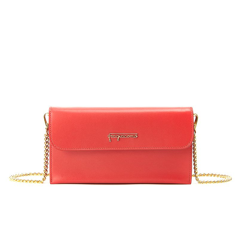 Pochette in red nappa leather with gold accessories woman