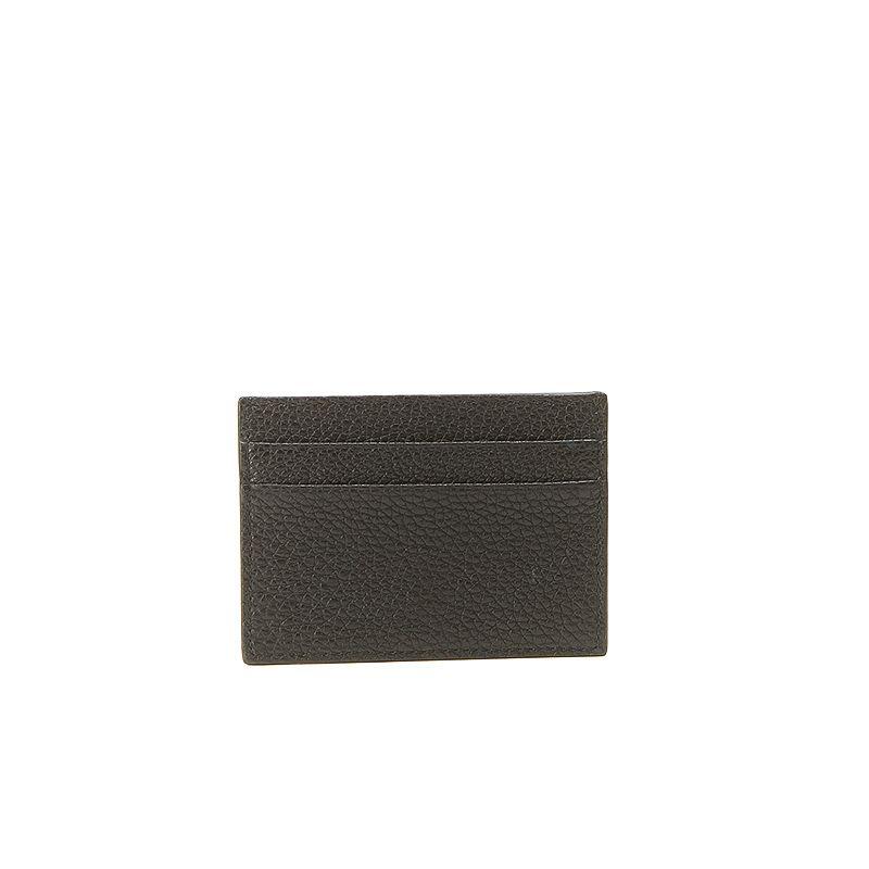 Porta carte di credito in alce nero uomo con finiture argento