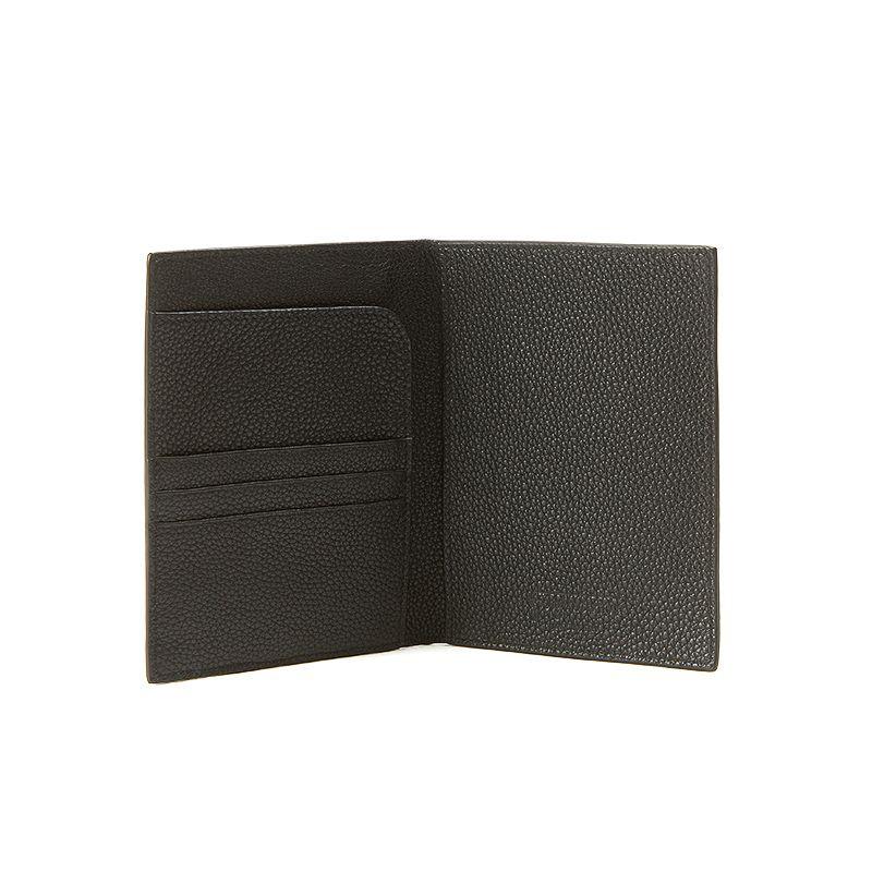 Porta passaporto in alce nero uomo con finiture argento