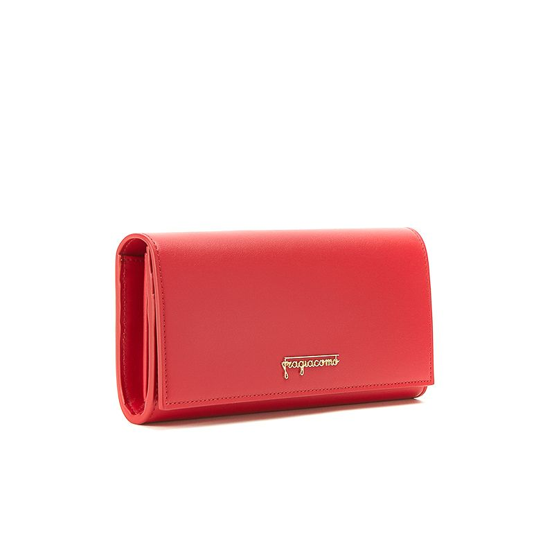 Portafoglio rosso in pelle nappa con cerniera e finiture oro da donna by Fragiacomo