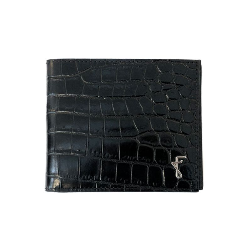 Portafoglio nero con finiture argento, realizzato a mano in Italia in pelle stampata coccodrillo, elegante da uomo by Fragiacomo