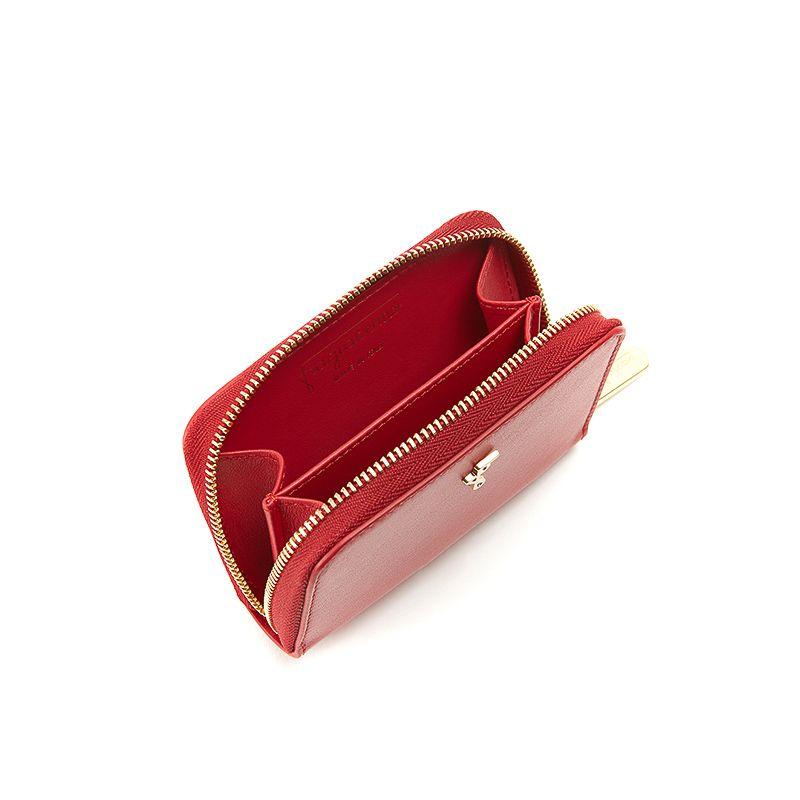 Portamonete in nappa rossa con finiture oro da donna by Fragiacomo