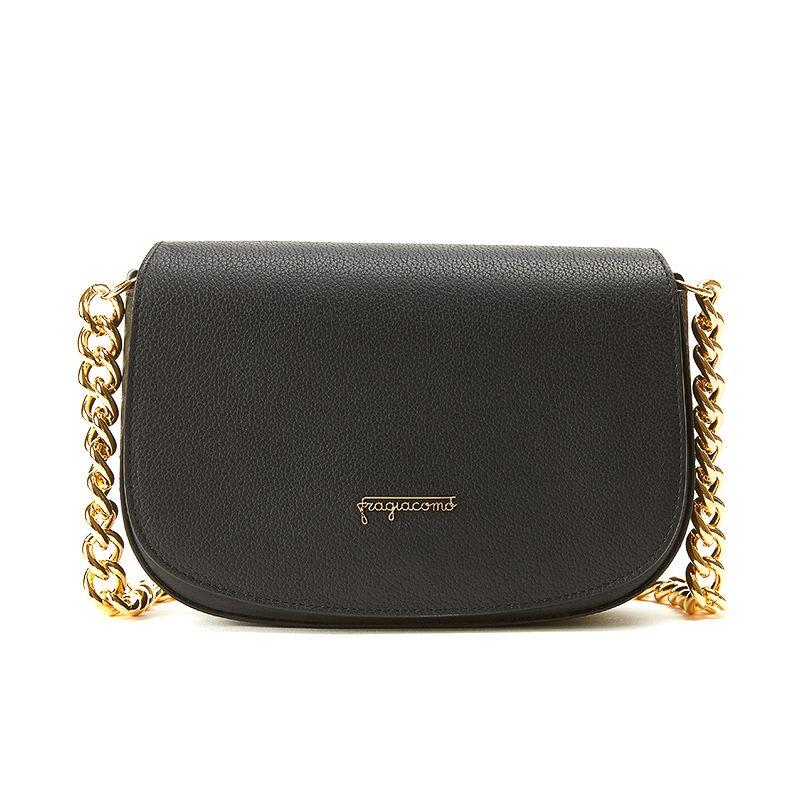Postino bag in alce nero con catena e accessori oro da donna