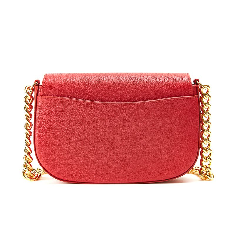 Postino bag in alce rosso con catena e accessori oro da donna