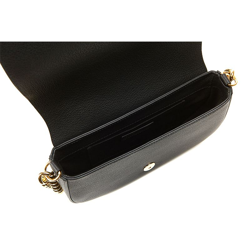 Postino bag in black moose leather with gold accessories woman