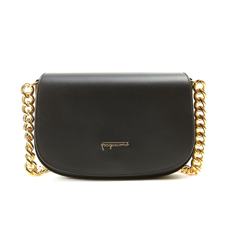 Postino bag in black nappa leather with gold accessories woman