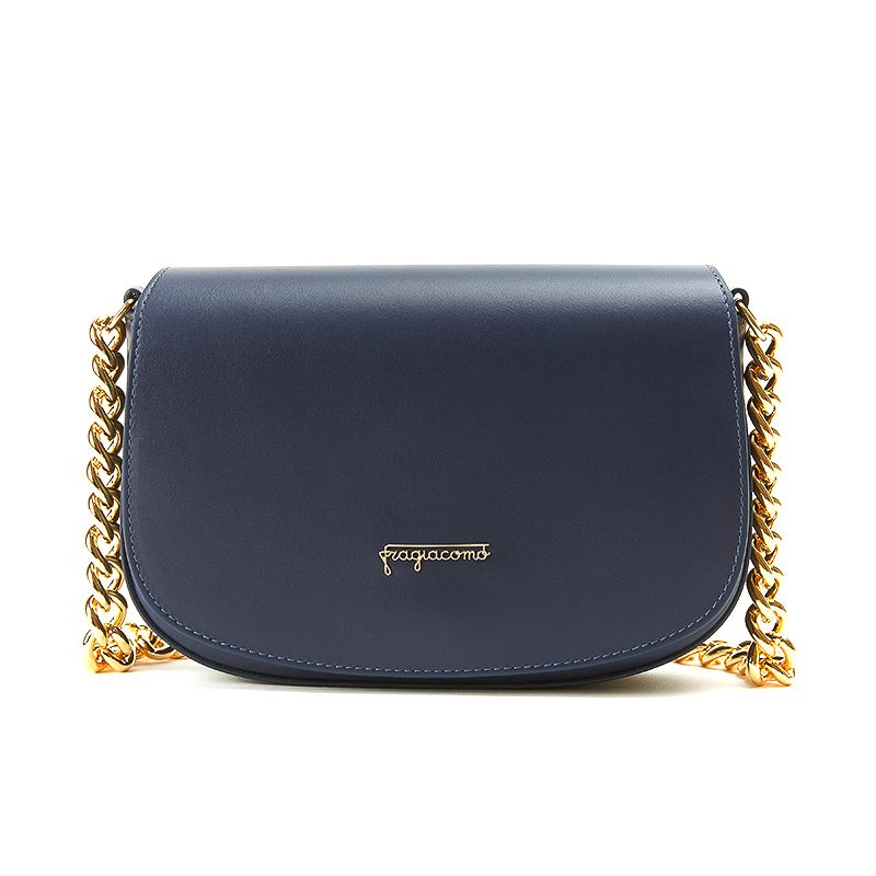 Postino bag in blue moose leather with gold accessories woman