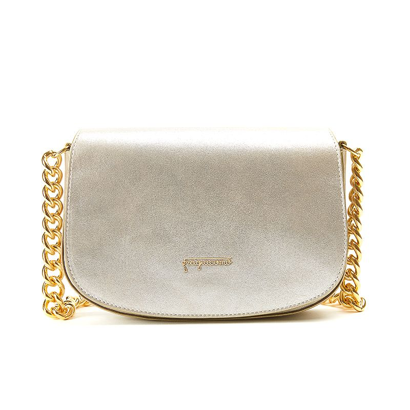 Postino bag in gold burma leather with gold accessories woman