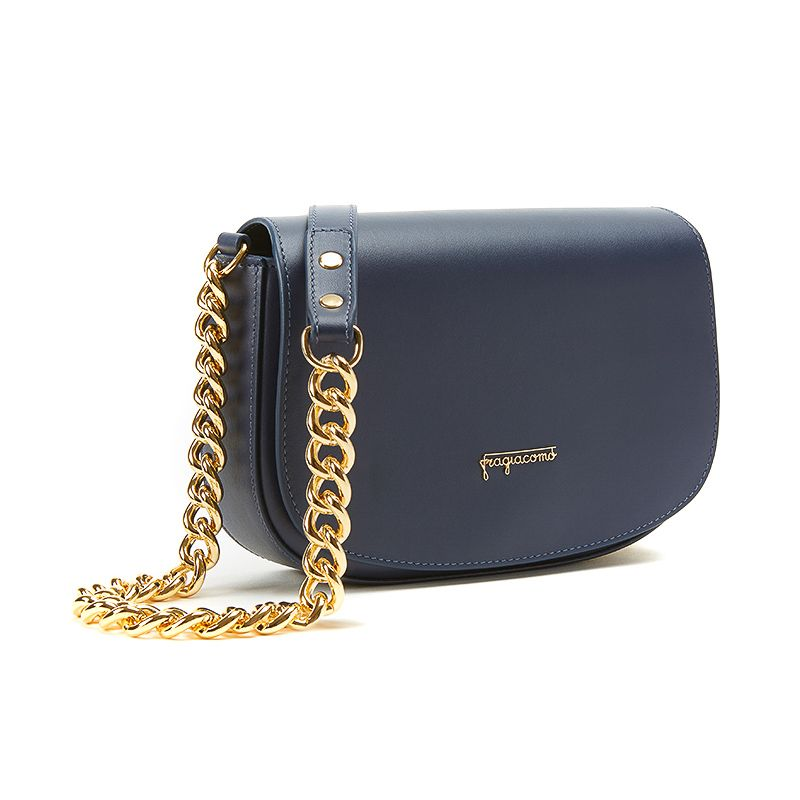 Postino bag in nappa blu con catena e accessori oro da donna