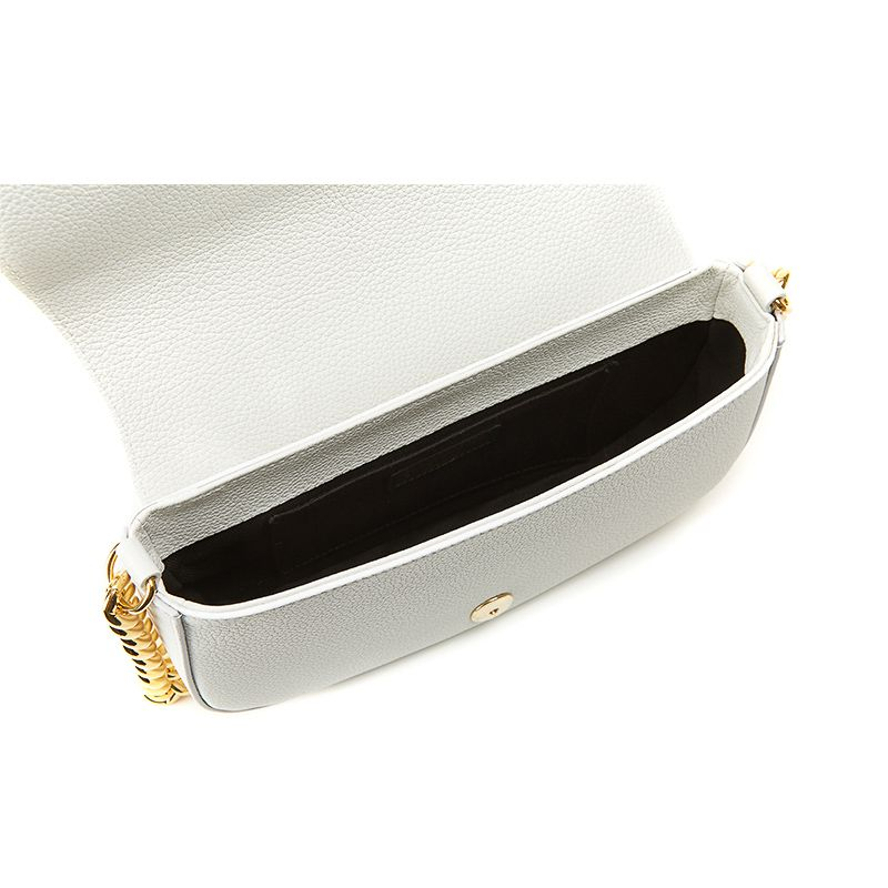 Postino bag in white moose leather with gold accessories woman