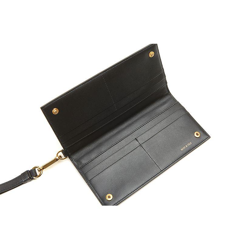 Pouch in nappa nera con accessori oro da donna