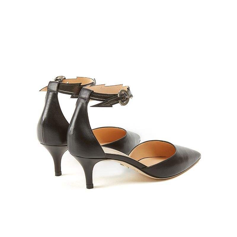 Pumps in black nappa with flash shape ankle strap in dark grey leather and 55mm heel