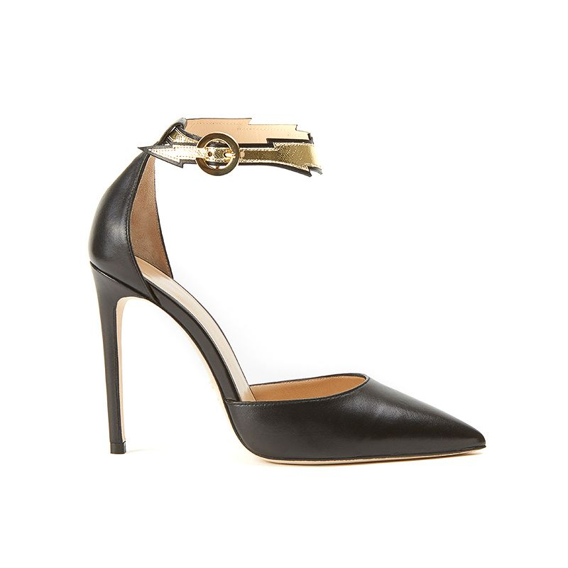 Pumps in black nappa with flash shape ankle strap in gold leather and 100mm stiletto heel