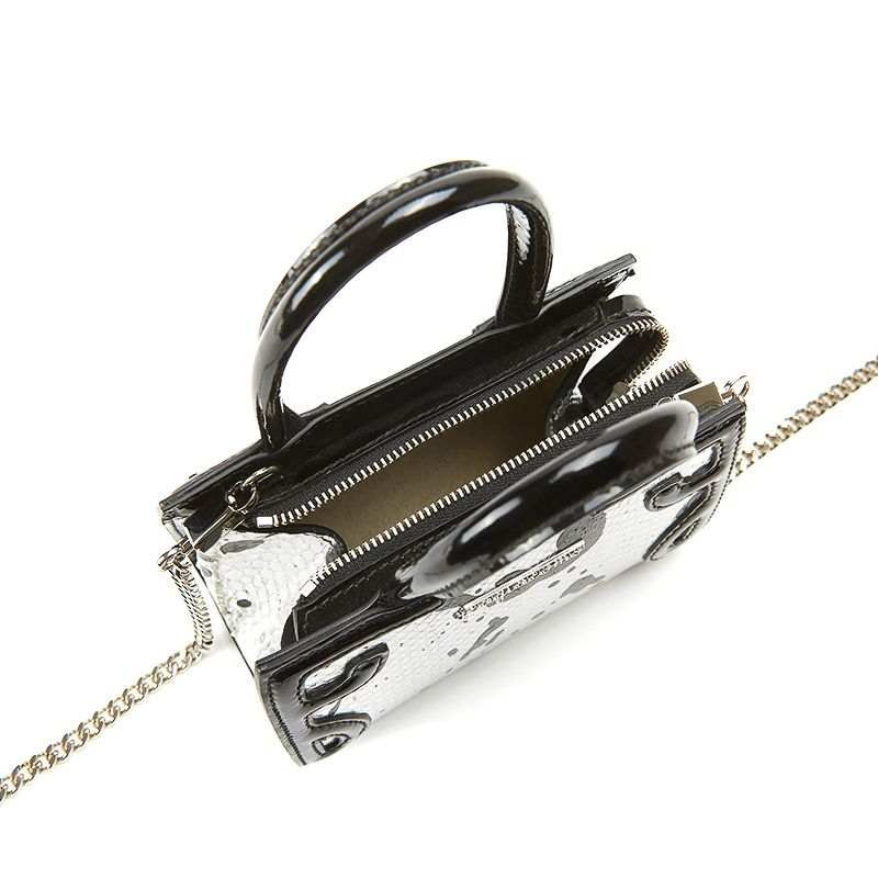 Micro Icon bag in silver python leather with with black print woman