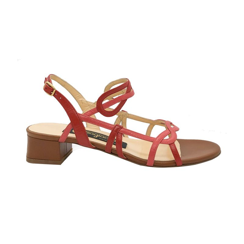 Red and light brown leather low heel sandals hand made in Italy, women's model by Fragiacomo