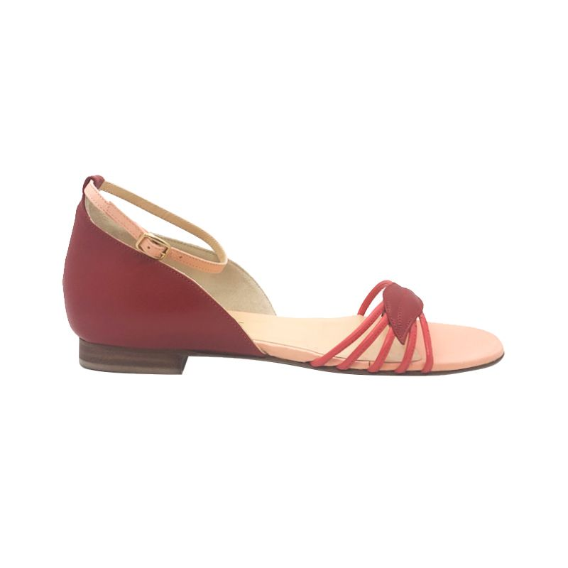 Red and pink leather flat sandals hand made in Italy, women's model by Fragiacomo