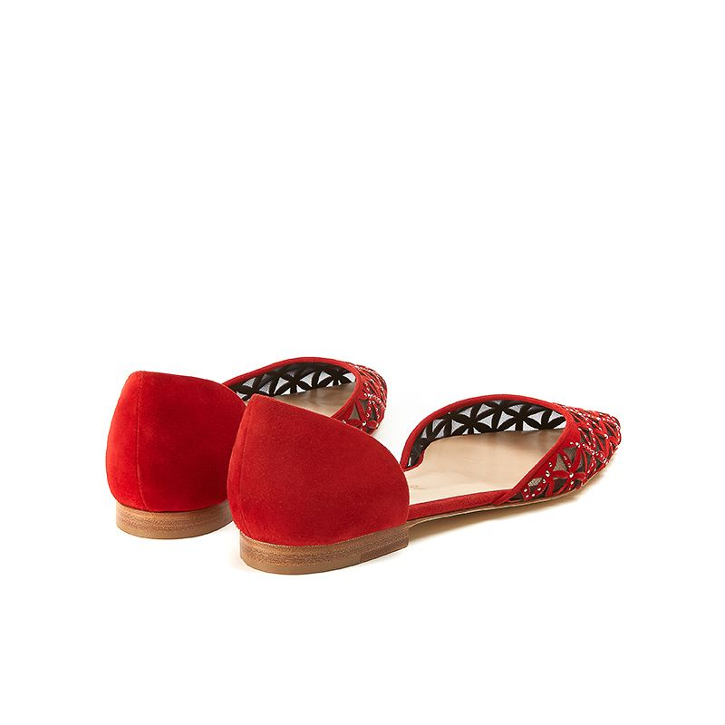 Red suede ballerinas with iconic laser cut pattern, small silver studs and 10 mm heel