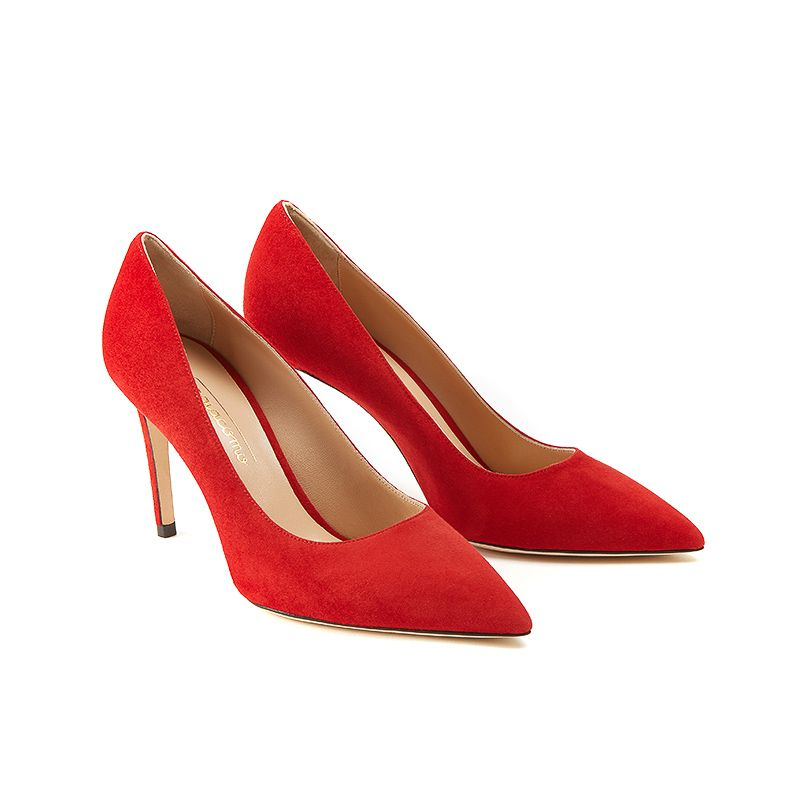 Iconic pumps is red suede with 85mm stiletto heel