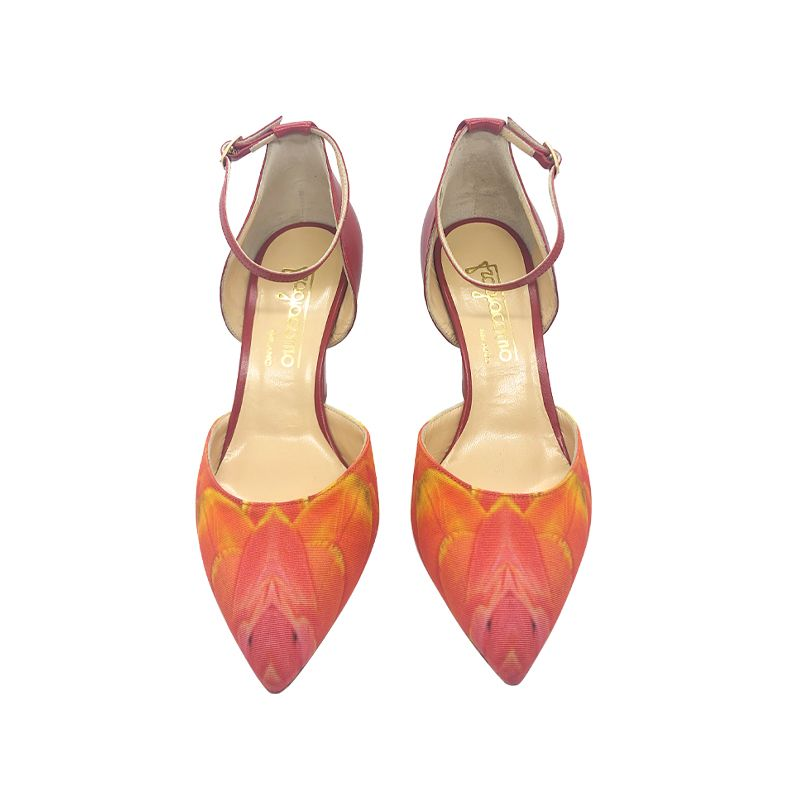 Red leather high heel pumps with feathers print hand made in Italy, women's model by Fragiacomo