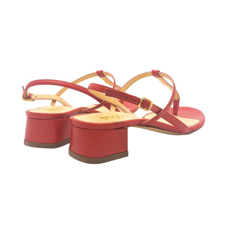Red leather low heel sandals hand made in Italy, women's model by Fragiacomo