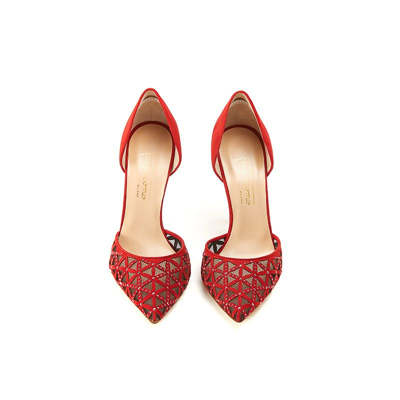 Red suede pumps with iconic laser cut pattern, small silver studs and 100 mm stiletto heel