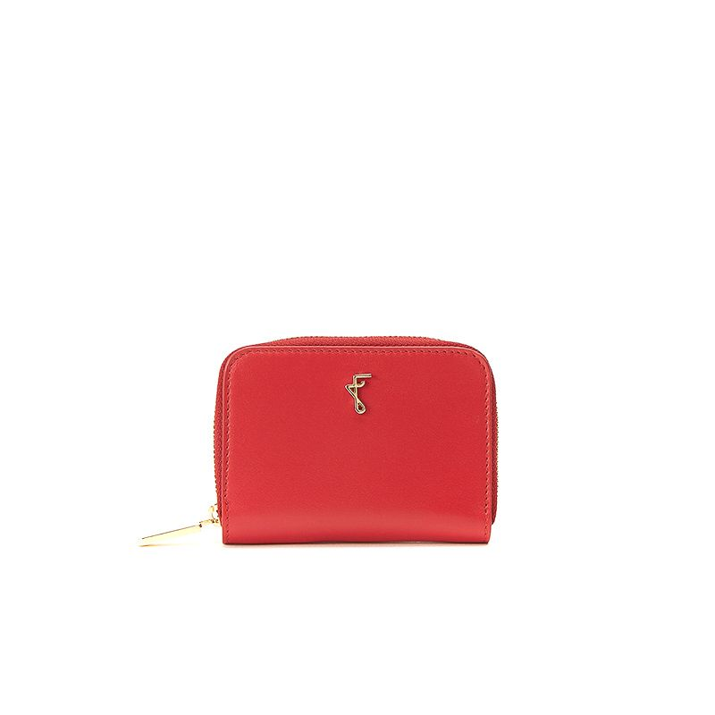 Small red nappa leather woman's wallet  with gold accessories
