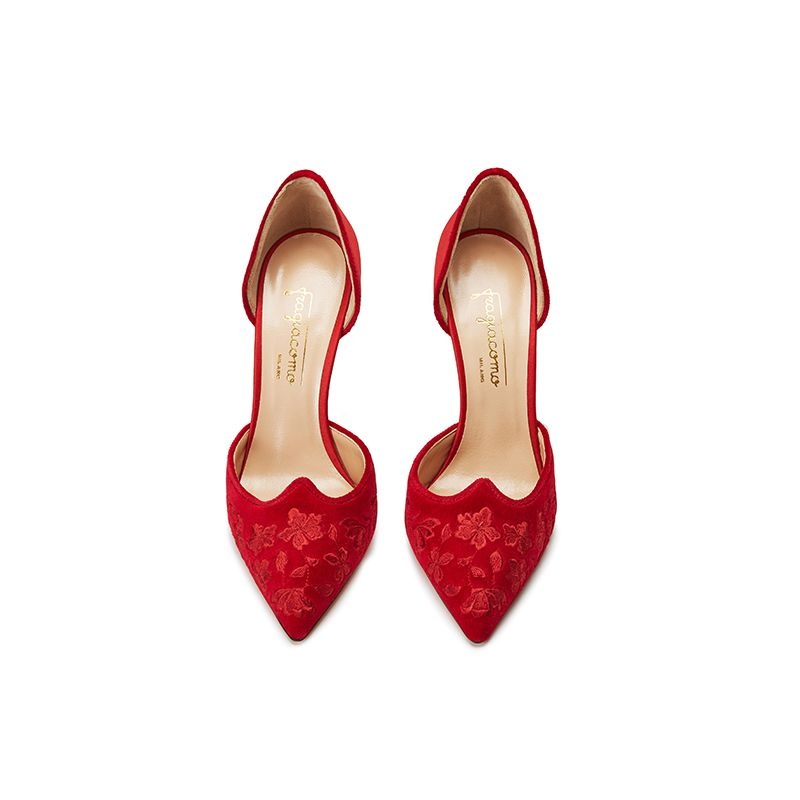 Red velvet pumps with embroidery ton sur ton on the point and satin on the back part, elegant women's, by Fragiacomo, over view
