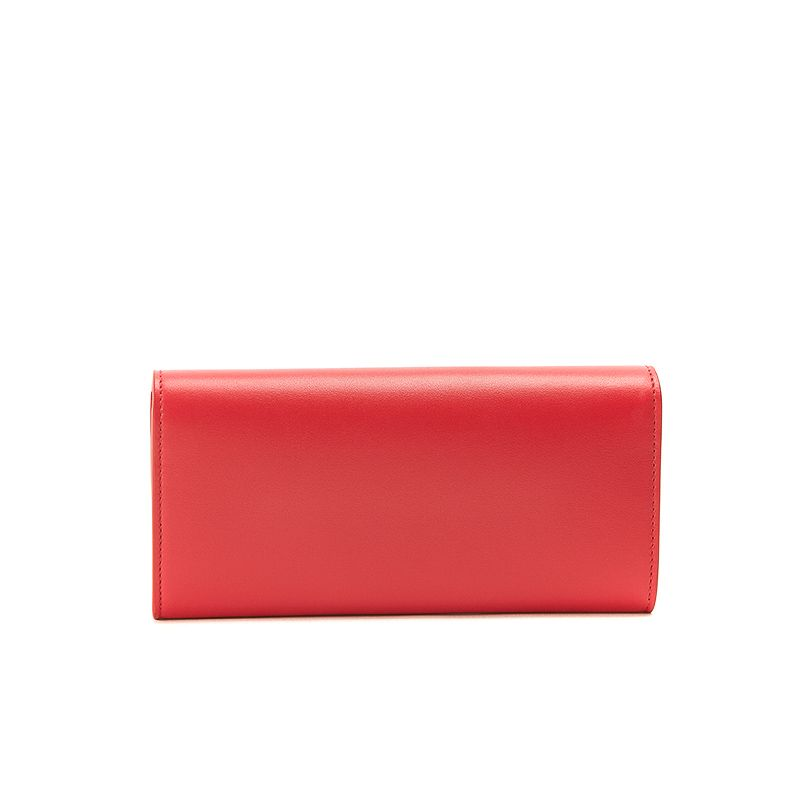 Red nappa leather woman's wallet  with gold accessories