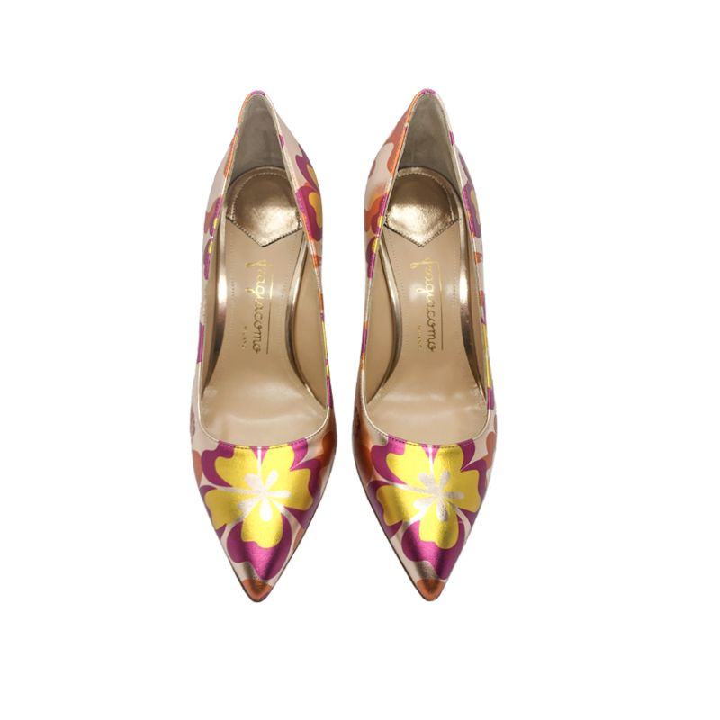 Rose gold and orange leather Flower Candy pump with 85 mm heel hand made in Italy, women's model by Fragiacomo