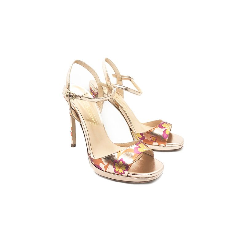 Rose gold laminated leather high heel sandals with multicolor floral pattern hand made in Italy, women's model by Fragiacomo