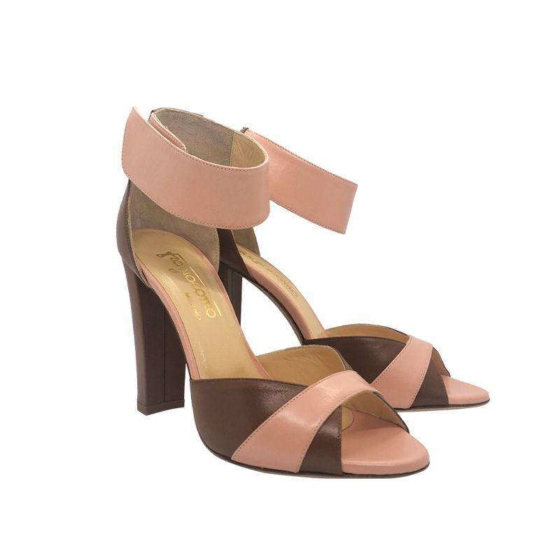 Sandali in pelle cuoio e rosa con tacco alto fatti a mano in Italia, modello da donna by Fragiacomo