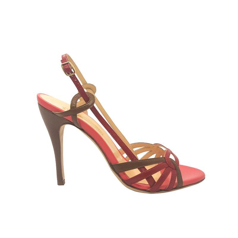 Sandali in pelle cuoio e rossa con tacco alto fatti a mano in Italia, modello da donna by Fragiacomo