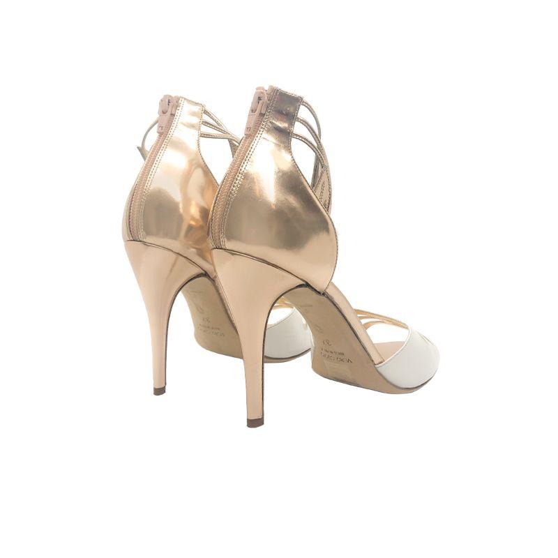 Sandali in pelle oro e bianca con tacco alto fatti a mano in Italia, modello da donna by Fragiacomo