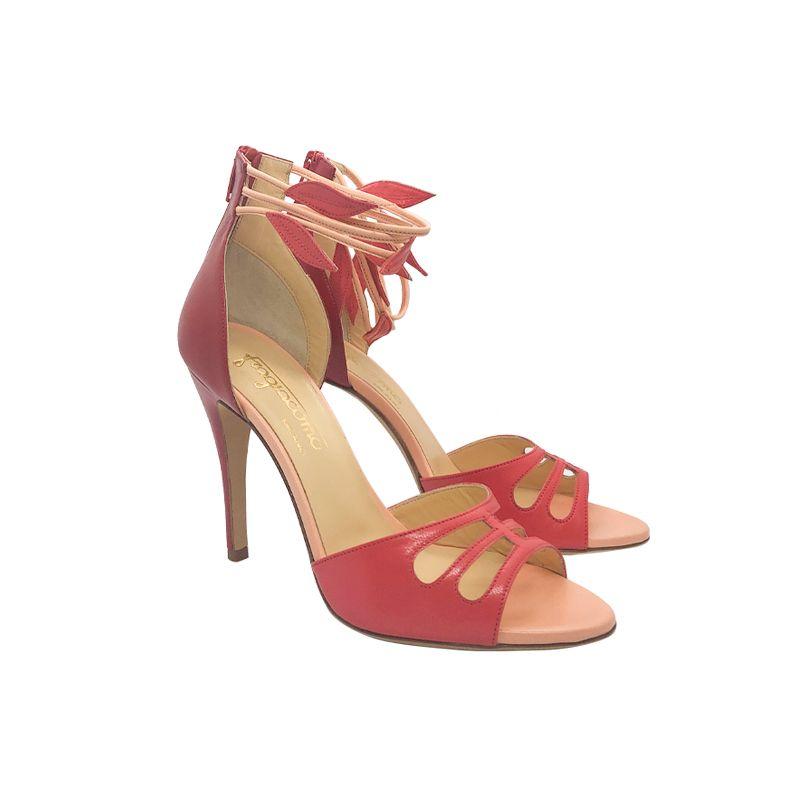 Sandali in pelle rossa e corallo con tacco alto fatti a mano in Italia, modello da donna by Fragiacomo